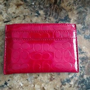Authentic patent leather C embossed card holder